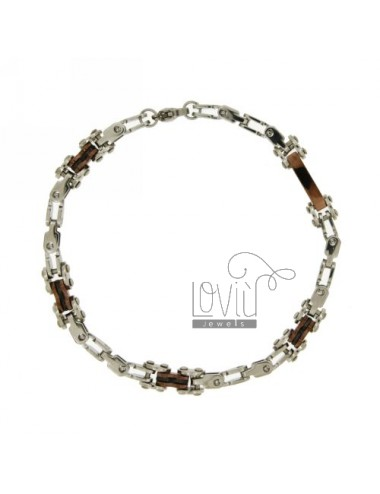 STEEL BRACELET WITH INSERTS pivoted ROLLED CHOCOLATE
