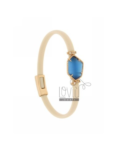 BRACELET RUBBER &39ILLEGAL IVORY WITH STONE STONE IN HYDROTHERMAL GOLD PLATED PINK TIT 925