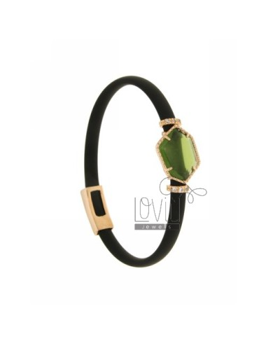 BRACELET RUBBER &39BLACK STONE WITH IRREGULAR STONE IN HYDROTHERMAL GOLD PLATED PINK TIT 925