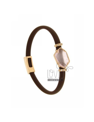 BRACELET RUBBER &39BROWN WITH IRREGULAR STONE STONE IN HYDROTHERMAL GOLD PLATED PINK TIT 925