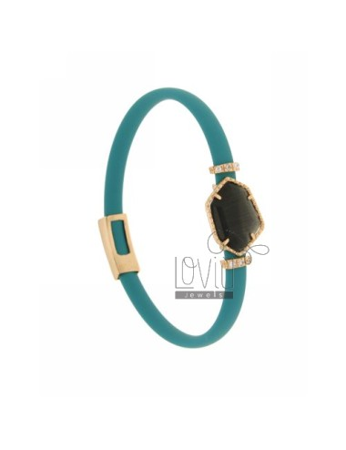 BRACELET RUBBER &39TURQUOISE STONE WITH IRREGULAR STONE IN HYDROTHERMAL GOLD PLATED PINK TIT 925