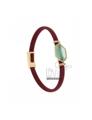 BRACELET RUBBER &39MARC SASSO IRREGULAR WITH STONE IN HYDROTHERMAL GOLD PLATED PINK TIT 925