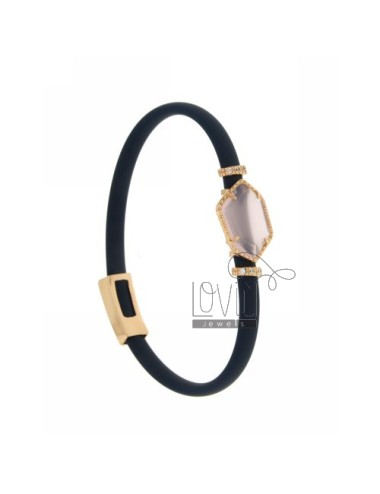 BRACELET RUBBER &39BLUE STONE WITH IRREGULAR STONE IN HYDROTHERMAL GOLD PLATED PINK TIT 925