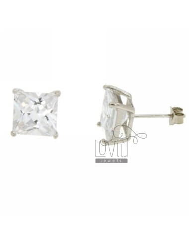 EARRINGS ZIRCONE WHITE 8X8 MM SQUARE IN AG TIT RODIATO 925 ‰