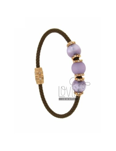 BRACELET LEATHER BRAID 3 HANDS WITH 3 MM MM 10 28 LILAC COLOR AND ZIRCONIA IN AG TIT PLATED ROSE GOLD 925 ‰ MAGNETIC CLOSURE