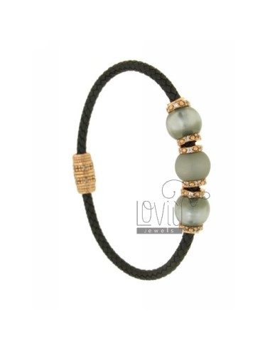 BRACELET LEATHER BRAID 3 HANDS WITH 3 MM MM 10 51 GREY AND PINK GOLD PLATED ZIRCONIA IN AG TIT 925 ‰ MAGNETIC CLOSURE