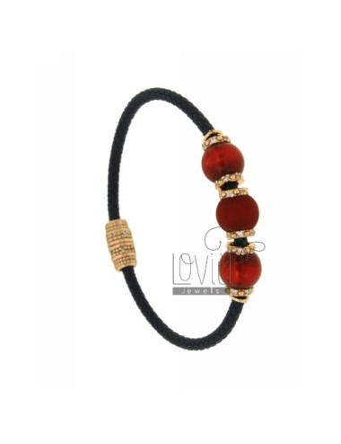 BRACELET LEATHER BRAID 3 HANDS WITH 3 MM MM 10 57 RED AND PINK GOLD PLATED ZIRCONIA IN AG TIT 925 ‰ MAGNETIC CLOSURE