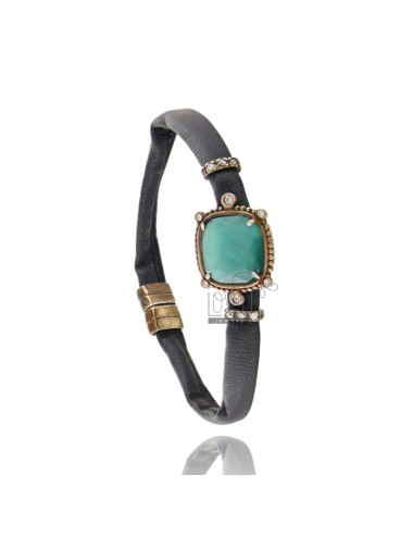 LEATHER BRACELET BLACK, CENTRAL SQUARE WITH STONES HYDROTHERMAL, ZIRCONIA AND MAGNETIC CLOSURE IN OLD ROSE GOLD PLATED AG TIT 92