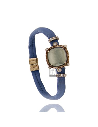 LEATHER BRACELET BLUE, CENTRAL SQUARE WITH STONES HYDROTHERMAL, ZIRCONIA AND MAGNETIC CLOSURE IN OLD ROSE GOLD PLATED AG TIT 925