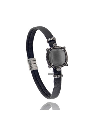BRACELET BLACK LEATHER, WITH STONES HYDROTHERMAL CENTRAL SQUARE, ZIRCONIA AND MAGNETIC CLOSURE IN ANCIENT AG RODIATO TIT 925 ‰