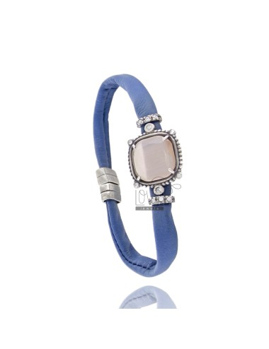 LEATHER BRACELET BLUE, CENTRAL SQUARE WITH STONES HYDROTHERMAL, ZIRCONIA AND MAGNETIC CLOSURE IN ANCIENT AG RODIATO TIT 925 ‰