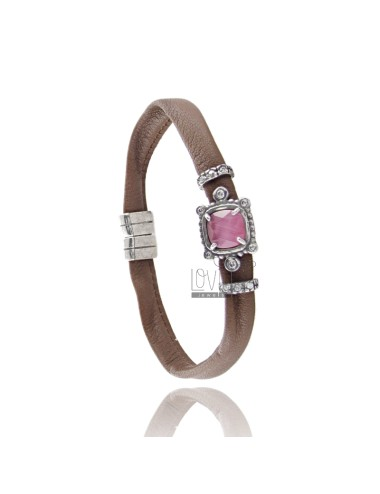 BRACELET BROWN SKIN, CENTRAL SQUARE WITH STONE HYDROTHERMAL, ZIRCONIA AND MAGNETIC CLOSURE IN ANCIENT AG RODIO TIT 925 ‰