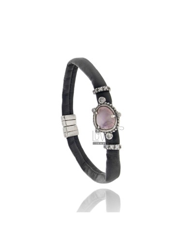 BRACELET BLACK LEATHER, CENTRAL WITH STONE HYDROTHERMAL SASSO, ZIRCONIA AND MAGNETIC CLOSURE IN ANCIENT AG RODIO TIT 925 ‰