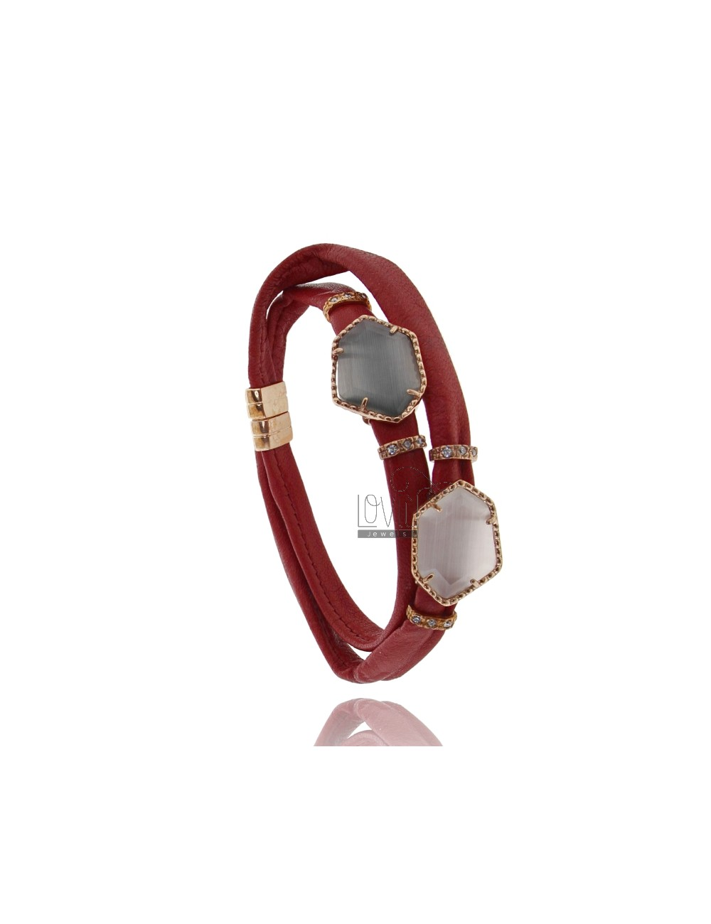 DOUBLE BRACELET AROUND LEATHER BORDEAUX, CENTRAL WITH STONES HYDROTHERMAL SASSO IRREGULAR ZIRCONIA AND MAGNETIC CLOSURE IN OLD R