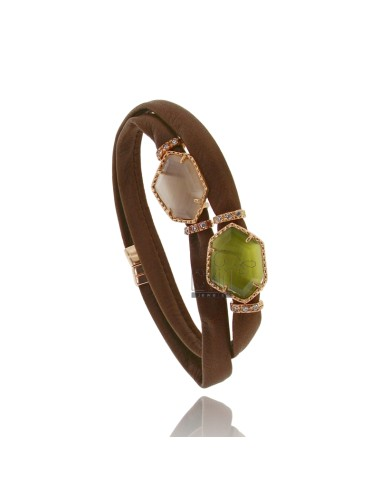 BRACELET DOUBLE ROUND BROWN LEATHER, CENTRAL WITH STONES HYDROTHERMAL SASSO IRREGULAR ZIRCONIA AND MAGNETIC CLOSURE IN OLD ROSE