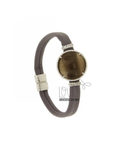 BRACELET LEATHER LILAC, CENTRAL WITH STONE ROUND HYDROTHERMAL, ZIRCONIA AND MAGNETIC CLOSURE IN ANCIENT AG RODIATO TIT 925 ‰