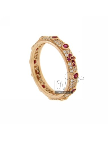 RING TYPE ZIRCONIA ROSARY WITH RED ROSE GOLD PLATED IN AG TIT 925 ‰ MIS 10