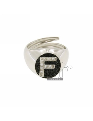 RING WITH LETTER F ZIRCONIA...