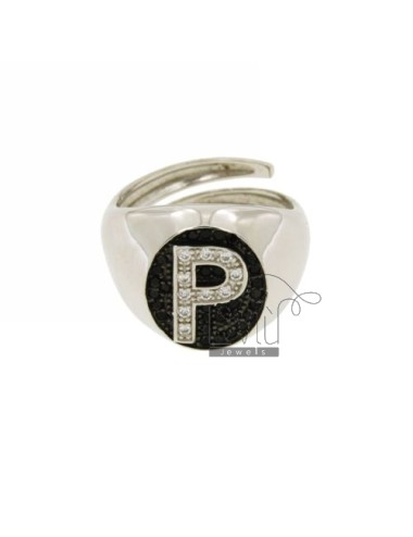 PINKY RING WITH LETTER P ZIRCONIA WHITE AND BLACKS IN SILVER RHODIUM TIT 925 ‰ MIS ADJUSTABLE 10