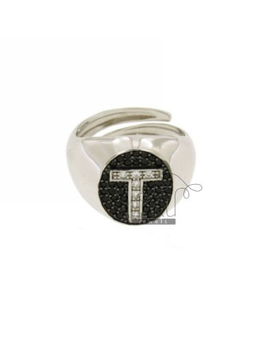 PINKY RING LETTER T WITH ZIRCONIA WHITE AND BLACKS IN SILVER RHODIUM TIT 925 ‰ MIS ADJUSTABLE 10