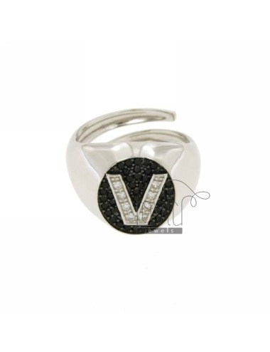 PINKY RING LETTER V WITH ZIRCONIA WHITE AND BLACKS IN SILVER RHODIUM TIT 925 ‰ MIS ADJUSTABLE 10