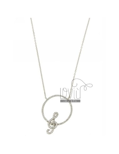 CHAIN CABLE CM 42.45 WITH CENTRAL ROUND WITH KEY VIOLIN SILVER RHODIUM TIT 925 ‰ E ZIRCONS