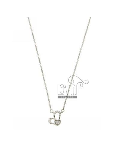 CHAIN CABLE CM 42.45 WITH CENTRAL HEART SILVER RHODIUM TIT 925 ‰ E ZIRCONS