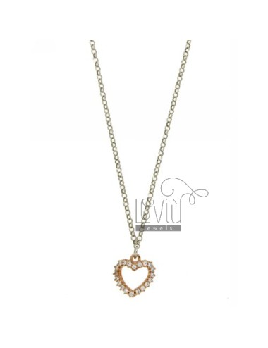 ROLO CHAIN &39HEART SHAPE WITH ZIRCONIA SILVER ROSE GOLD PLATED TIT 925 ‰ CM 40