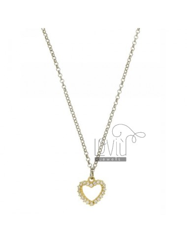 ROLO CHAIN &39HEART SHAPE WITH ZIRCONIA SILVER GOLD PLATED TIT 925 ‰ CM 40