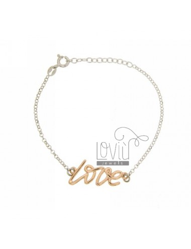 BRACCIALE ROLO' LOVE MM 1,3X2,8 IN AG RODIATO E PLACCATO ORO ROSA TIT 925‰ CM 20