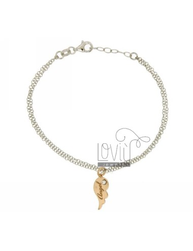 CABLE BRACELET ALA ANGEL IN SILVER AND GOLD PLATED RHODIUM TIT 925 E STRASS