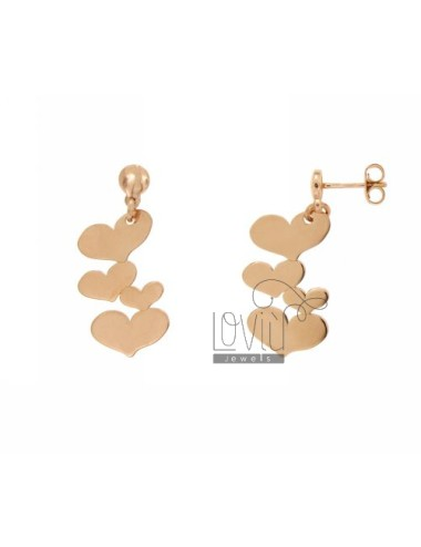 EARRINGS HEARTS SILVER ROSE GOLD PLATED TIT 925