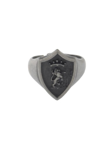 RING SHIELD LION CROWN SILVER SATIN AND BRUNITO TIT 925 ‰ SIZE ADJUSTABLE