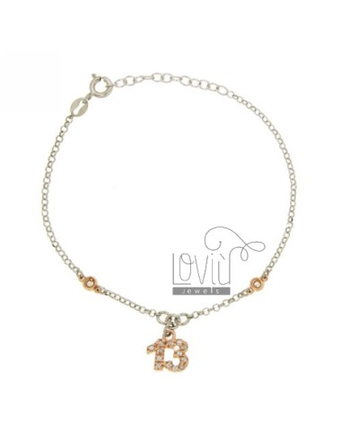 ROLO BRACELET &39DIAMOND WITH CHARM WITH 13 IN ZIRCONIA AG RHODIUM AND GOLD PLATED PINK TIT 925 ‰ CM 17.20