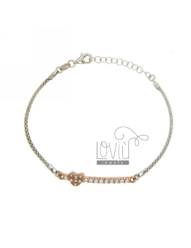 BRACELET POP CORN WITH HEART WITH ZIRCONIA IN AG RHODIUM AND GOLD PLATED PINK TIT 925 ‰ CM 17.20