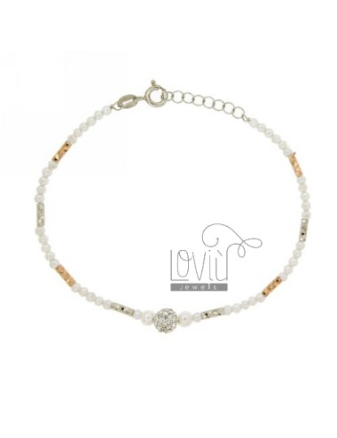 PEARLS AND CRYSTAL BRACELET RHODIUM SILVER AND GOLD PLATED PINK TIT 925 ‰ CM 18
