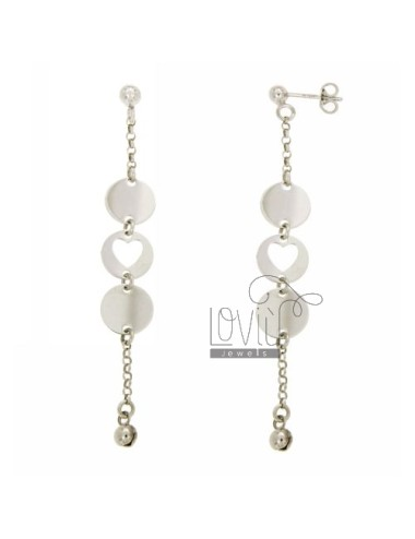 EARRINGS WITH ROUND AND HEARTS SILVER RHODIUM TIT 925 ‰