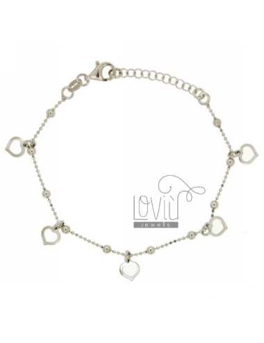 BRACELET WITH BALLS faceted HEARTS PERFORATED PENDING IN SILVER TRICOLORE TIT 925 CM 17.20