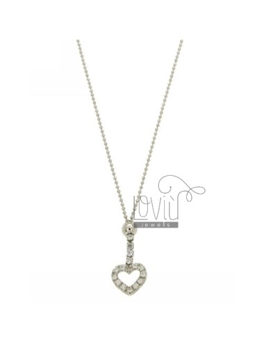 NECKLACE WITH BALL faceted CENTRAL TO HEART WITH ZIRCONIA SILVER RHODIUM TIT 925 ‰ CM 45
