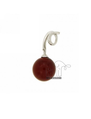 BALL PENDANT PASTE CORAL RED 12 MM IN AG TIT TIT RHODIUM 925