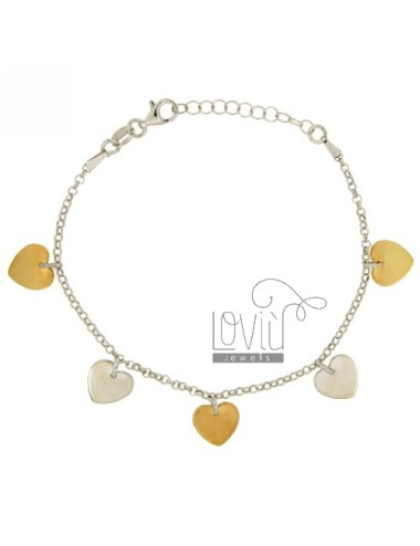 ROLO BRACELET &39DIAMOND PLATE WITH HEARTS A PENDING IN SILVER RHODIUM AND GOLD PLATED TIT 925 ‰ CM 17.19