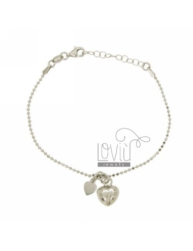 BRACELET WITH HEART BALL faceted MM 1.5 BOMBATO PENDANT SILVER RHODIUM TIT 925 ‰ CM 17.19