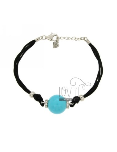 BRACELET CERATA SILK, BALL OF PASTA 14 MM TURQUOISE AND SILVER ZIRCONIA TIT 925 ‰ CM 17.21