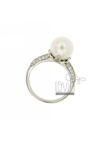 Ring mit Perle 10 MM Silber...