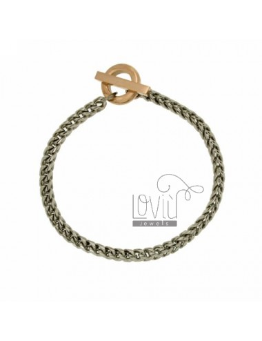 BRACELET KNIT SPIGA MM 4X4 STEEL WITH CLOSING T.BARR GOLD PLATED ROSE
