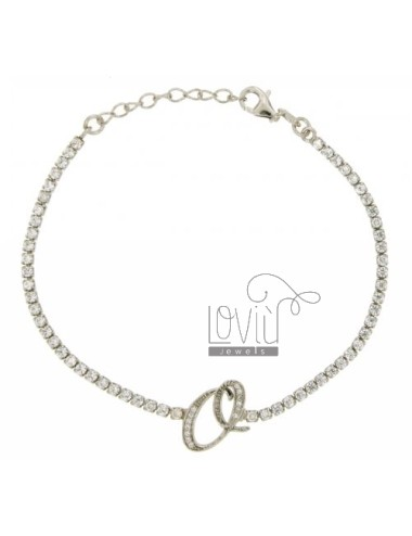 TENNIS BRACELET WITH LETTER OR SILVER RHODIUM TIT 925 ‰ CM 17.20