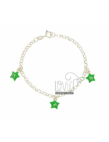 ROLO BRACELET &39PENDING WITH 3 STARS ENAMELLED SILVER TIT 925 CM 18