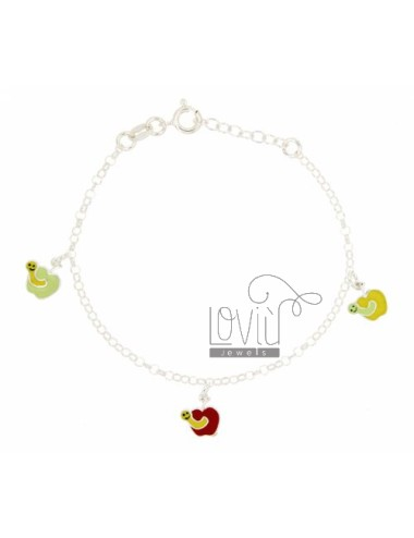 ROLO BRACELET &39PENDING WITH 3 APPLES ENAMELLED SILVER TIT 925 CM 16 18 A STRETCH