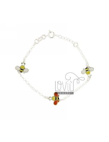 ROLO BRACELET &39WITH PARTITIONS 3 apine ENAMELLED SILVER TIT 925 CM 13 STRETCH A 13.17