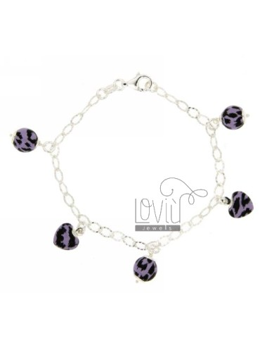 DIAMOND BRACELET COP WITH HANGING BALLS BETWEEN 5 AND HEARTS MOULDED ENAMELLED SILVER TIT 925 CM 18